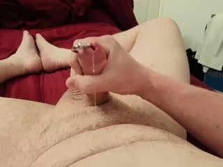 Playing with my Pierced Cock some more. My biggest cumshot? (Prince Albert)