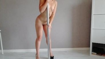Stripper in high heels JOI during pole dancing strip tease