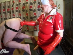 : Pegging His Ass in my PVC Nurse Outfit. Anal Fingering, Strapon and...