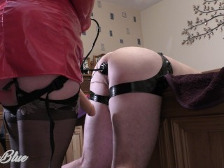 Pegging his ass in my pvc nurse outfit...