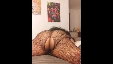 Black BBW tries double penetration while masturbating