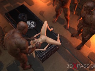 Dungeon orgy. Blonde teenager girl and 3 orcs. 3d animation
