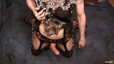 Masturbation in peignoir