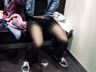 Shaking orgasm. Shopping. Pantyhose and sneakers in public changing room HD