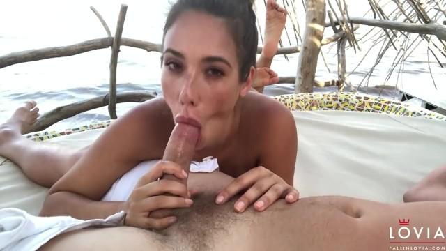 Eva Lovia Sucks and Rides a Cock at the Beach - Blowjob - Pornhub.com