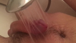Shower head made me cum - no hands throbbing cock