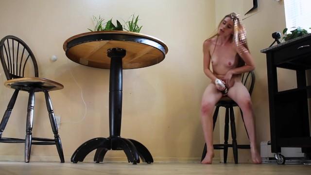 Horny Redhead Rides Dildo & Cums In Kitchen  freckledRED 12
