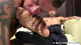 Sexy businessman gets his perfect feet worshiped