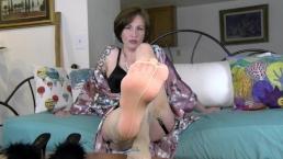 Sole Sucking Stocking Seduction - Mrs Mischief foot fetish milf FEET pov