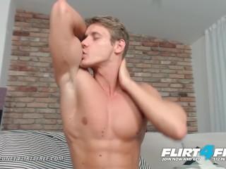 Eluan Jeunet on Flirt4Free - Perfect Ripped Model Stroking His Huge Cock