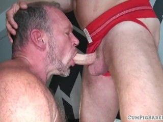 Mature bear riding and sucking hard cock