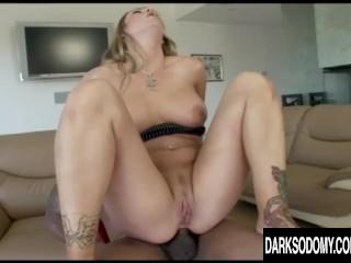 Hot MILF Aline gets interracial anal sex