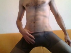 SKINNY YOUNG GUY IN GREY PANTYHOSE MASTURBATE FOR YOU