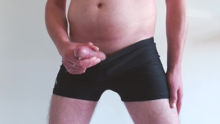 Pulling my cock out my swimming shorts ends in huge handsfree cumshot.