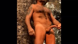 Hung & Furry Daddy Shooting a Load, Trying Not to Get Caught