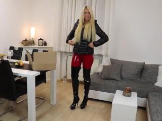 Blonde german in black puffy jacket sex...