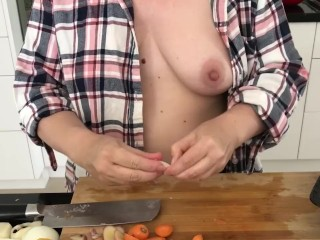 Wife MILF Tits Out Cooking