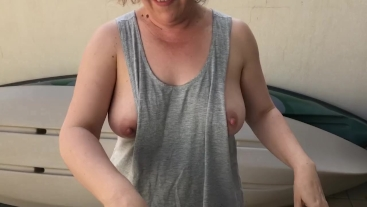 Tits Out Hanging Out Washing - MILF Outdoor