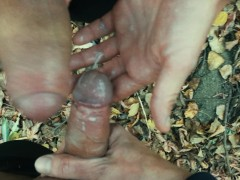 POV Outdoor cum on other dick and lick own cum off