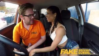 Fake Driving School Ebony American minx Kira Noir craves cock creampie