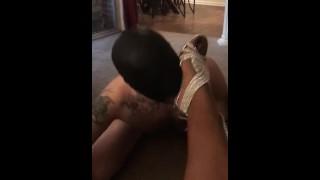 sissy slave Sucks Mistress Heels Begs To Suck Black Cock