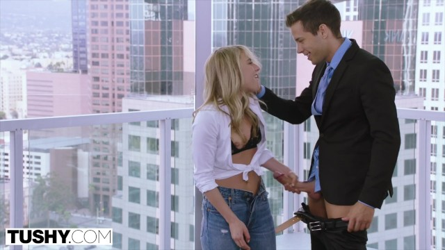 Nude male voyager Tushy tiny blonde has insane anal sex on work trip