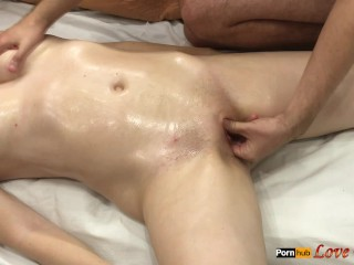 Sexy oil massage to each other with mutual...