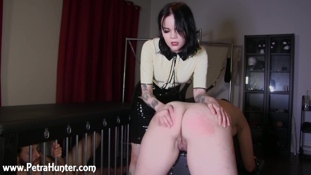 Dominant wife who spanks hsuband - Submissive wife gets spanked by mistress while husband watches