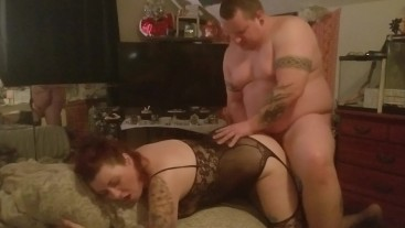 Big man pounding her from behind
