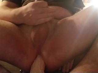 Quick anal toy play while wife is away