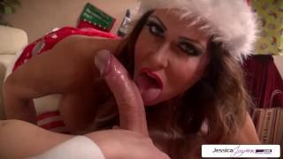 Naughty Elf Jessica Jaymes Sucking Santas Monster Cock