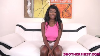 Kandie in her first time professional video! Sexy Black teen! Creampie asian