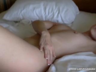 Blue Lingerie Hotel Room Tease! Alexandra Belle - www.LasVegasAmateurs.com