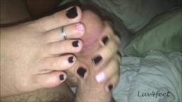 Luv4feet - Handjob and Foot Play Black with Orange Polka Dots