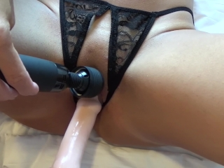 MILF gets big dildo in her pussy while she masturbates with a Magic Wand