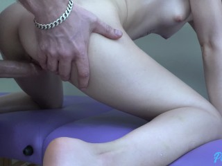 Petite brunette Piper June gets a massage and some dick
