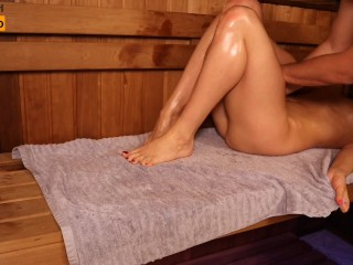 Oil Massage in Sauna, girl Twice Got Orgasm | MASSAGE2018