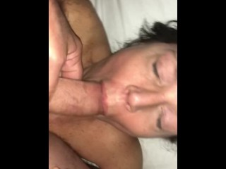 Baby girl wakes me up sucking my cock and face fuck her