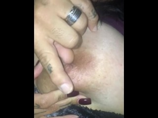 Hubby jacking off to my titties