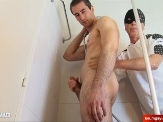 Handsome straight neighbour gets sucked is big cock in spite of him.