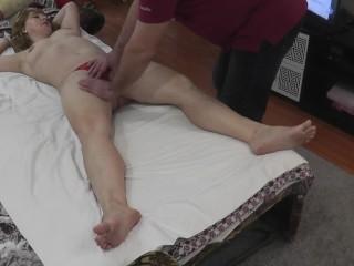 Massage . Real orgasm woman during massage . MASSAGE2018