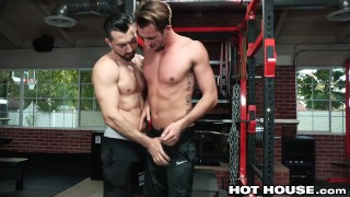 HotHouse Skinny Muscle Daddy Likes Getting Dicked At The Gym Stockings 3some