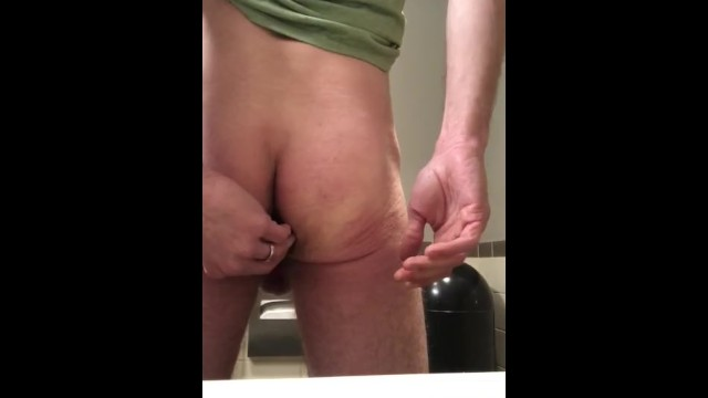 Anal toying my hole in a Starbucks bathroom