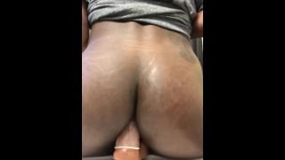 Chocolate Ass bouncing on Dildo (TS PublicPrincess)