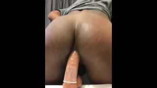Chocolate Ass bouncing on Dildo (TS PublicPrincess)