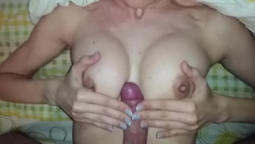 Tits fuck and cum