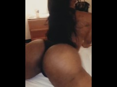 Shaking This Big Tgirl booty in His Face Pulled my panties in the crack