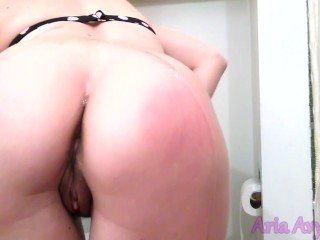 Spanking my ass dripping in oil until my cheeks turn pink and cum