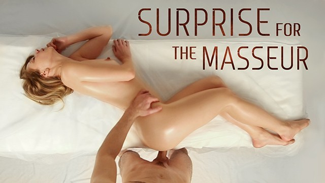 Round ass and pigtails - Naughty babe with a surprise inside her gets satisfied by a masseur