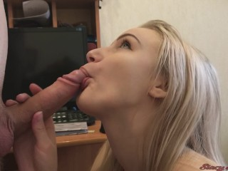 Cute Blowjob From Teen Girl Stacy   Cum in Mouth & Swallow